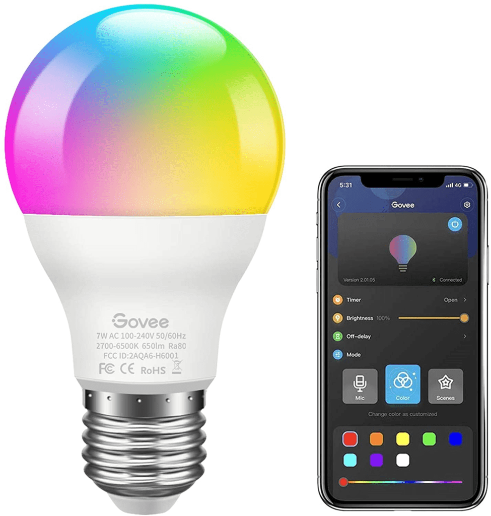 Govee LED Light Bulb Dimmable, Music Sync RGB Color Changing Light Bulb A19 7W 60W Equivalent