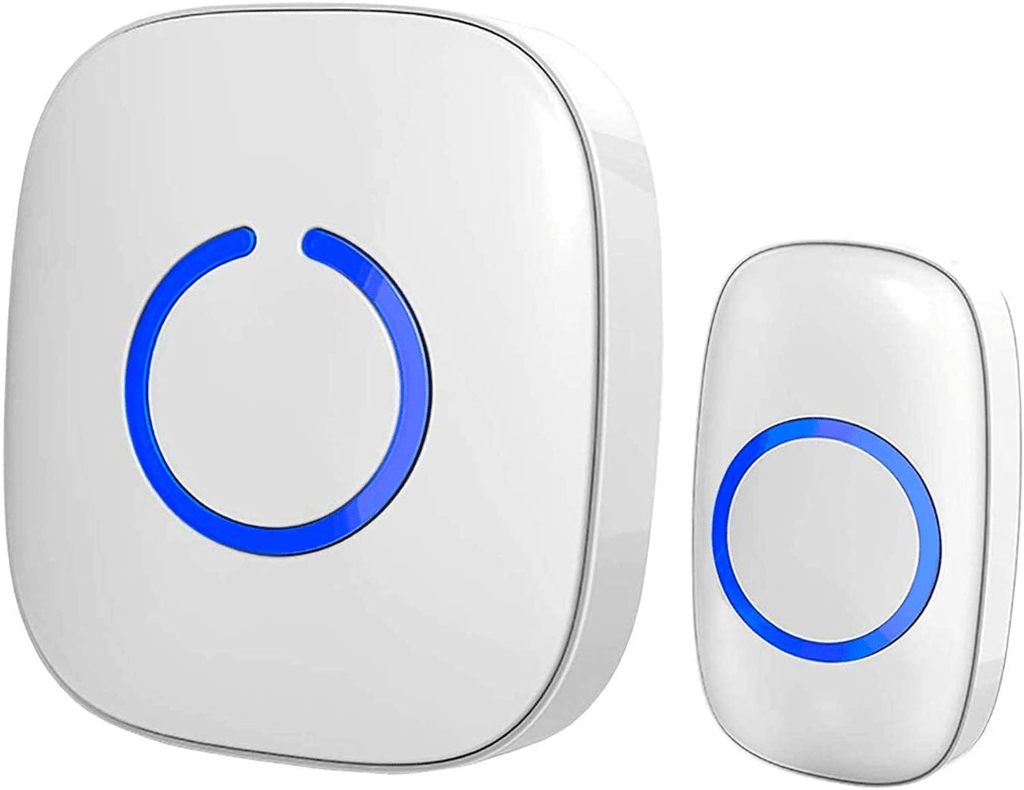 SadoTech White Wireless Doorbell Kit: Model C Wireless Doorbell for Home with 1 Push Button Transmitter and 1 Receiver