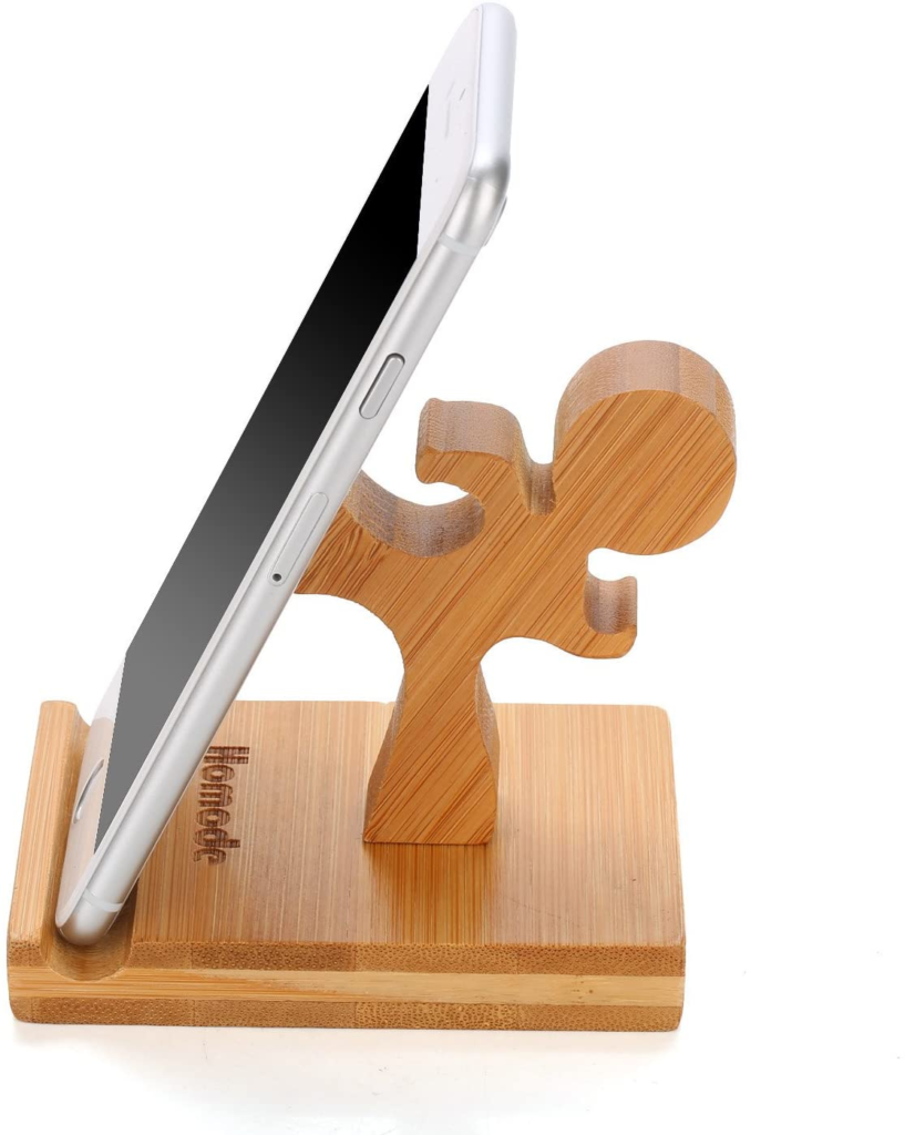 Homode Cell Phone Stand, Bamboo Wood Phone Holder and Cute Phone Stand