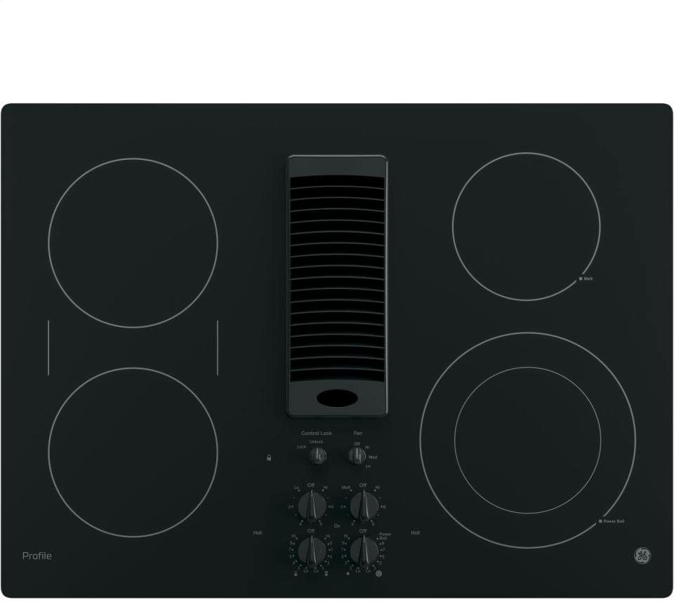 GE PP9830DJBB Profile Series Electric Cooktop with 4 Burners and 3-Speed Downdraft Exhaust System