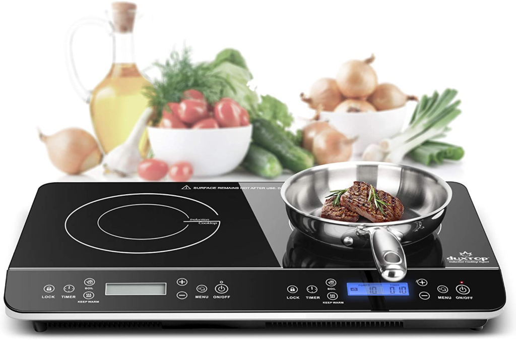Duxtop LCD Portable Double Induction Cooktop 1800W Digital Electric Countertop Burner Sensor Touch Stove
