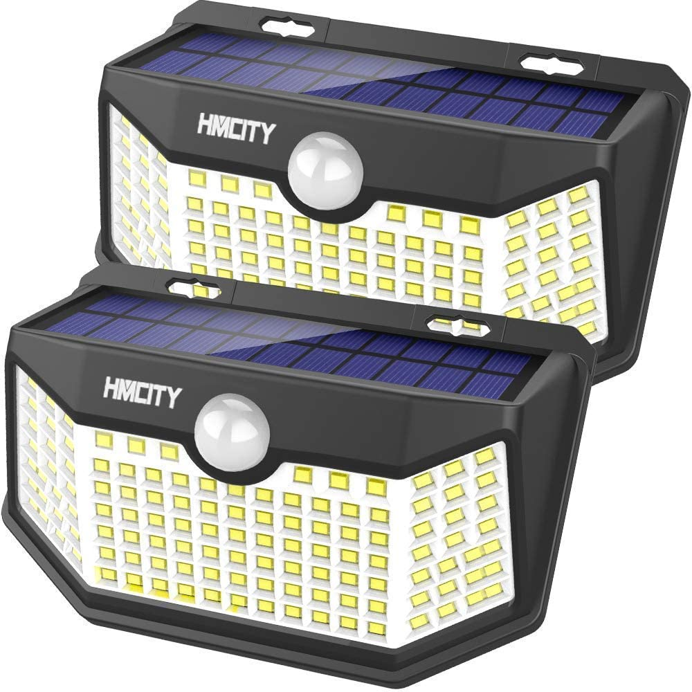 Hmcity Solar Lights Outdoor 120 LED with Lights Reflector and 3 Lighting Modes