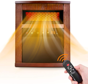 Electric Space Heater, 1500W Infrared Heater with 3 Heat Modes, Remote Control & Timer, Room Heater