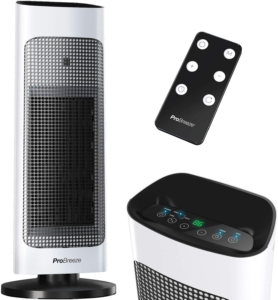 Pro Breeze Space Heater with Digital LED Display, 1500W Tower Heater with Remote Control, Energy Efficient ECO Mode
