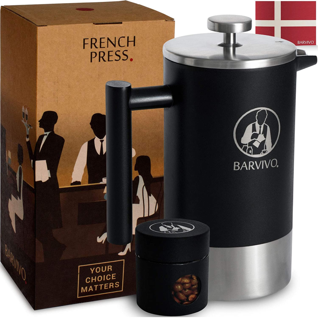BARVIVO Barista French Press Coffee Maker - Best for Brewing Your Favorite Cup of Coffee or Tea - Comes with a Small Portable Travel Jar