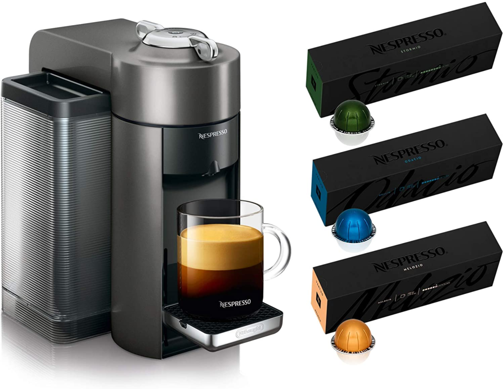 Nespresso ENV135GY Coffee and Espresso Machine by De'Longhi, Graphite Metal with Nespresso Vertuoline Coffee