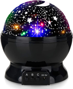 Baby Night Lights, Moon Star Projector 360 Degree Rotation - 4 LED Bulbs 8 Color Changing Light